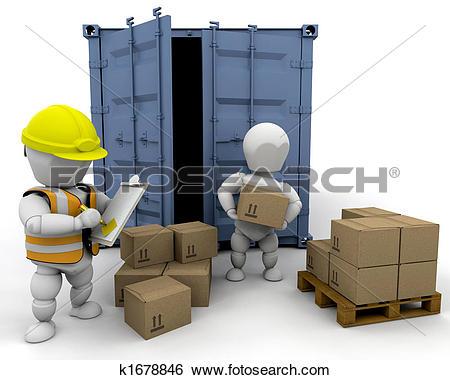 Stock Illustration of removal men loading a van k3422806.