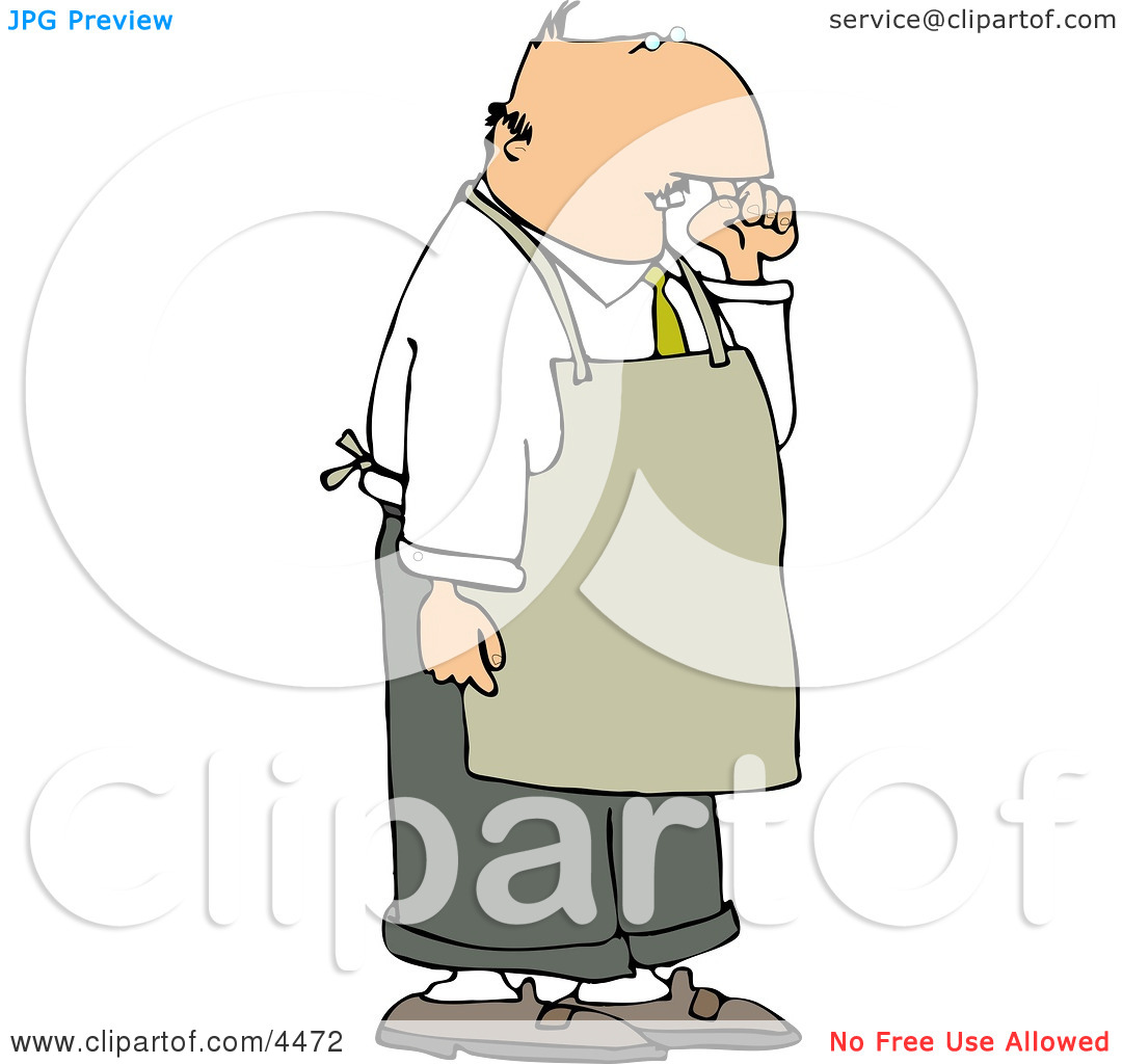 Restaurant Food Handler Wearing an Apron and Picking His Nose for.