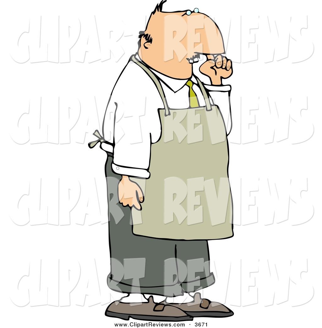 Clip Art of a Caucasian Restaurant Food Handler Wearing an Apron.