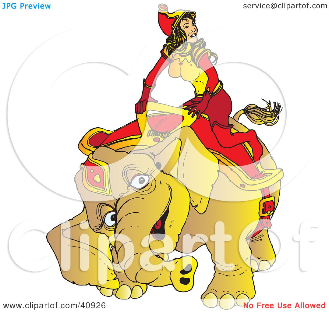 Clipart Illustration of a Happy Circus Elephant Kneeling To Assist.