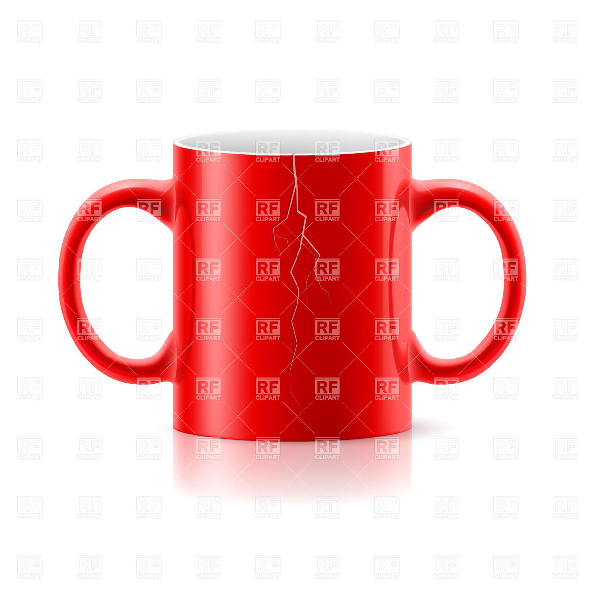 Red mug with two handles on each side on white background Vector.