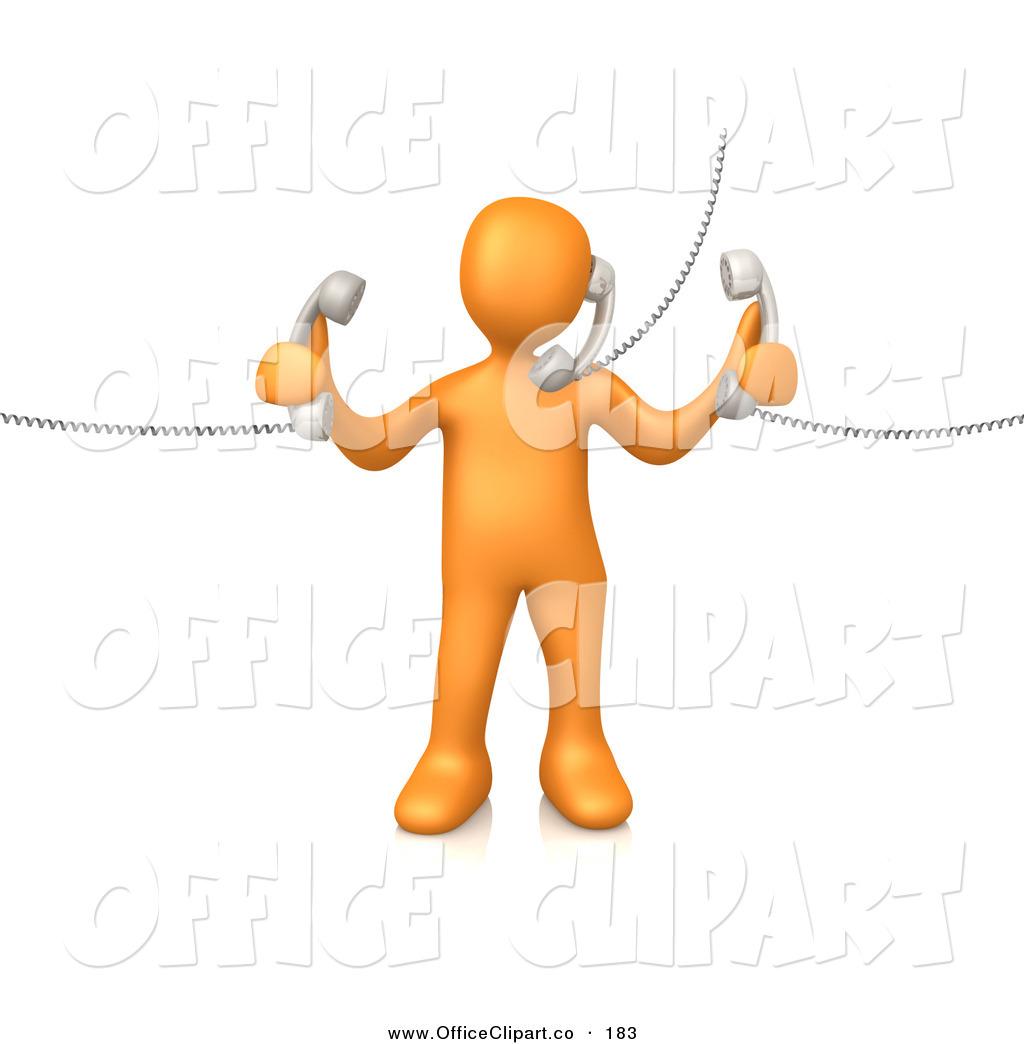 Clip Art of an Orange Man Handling Three Customer Service Lines.