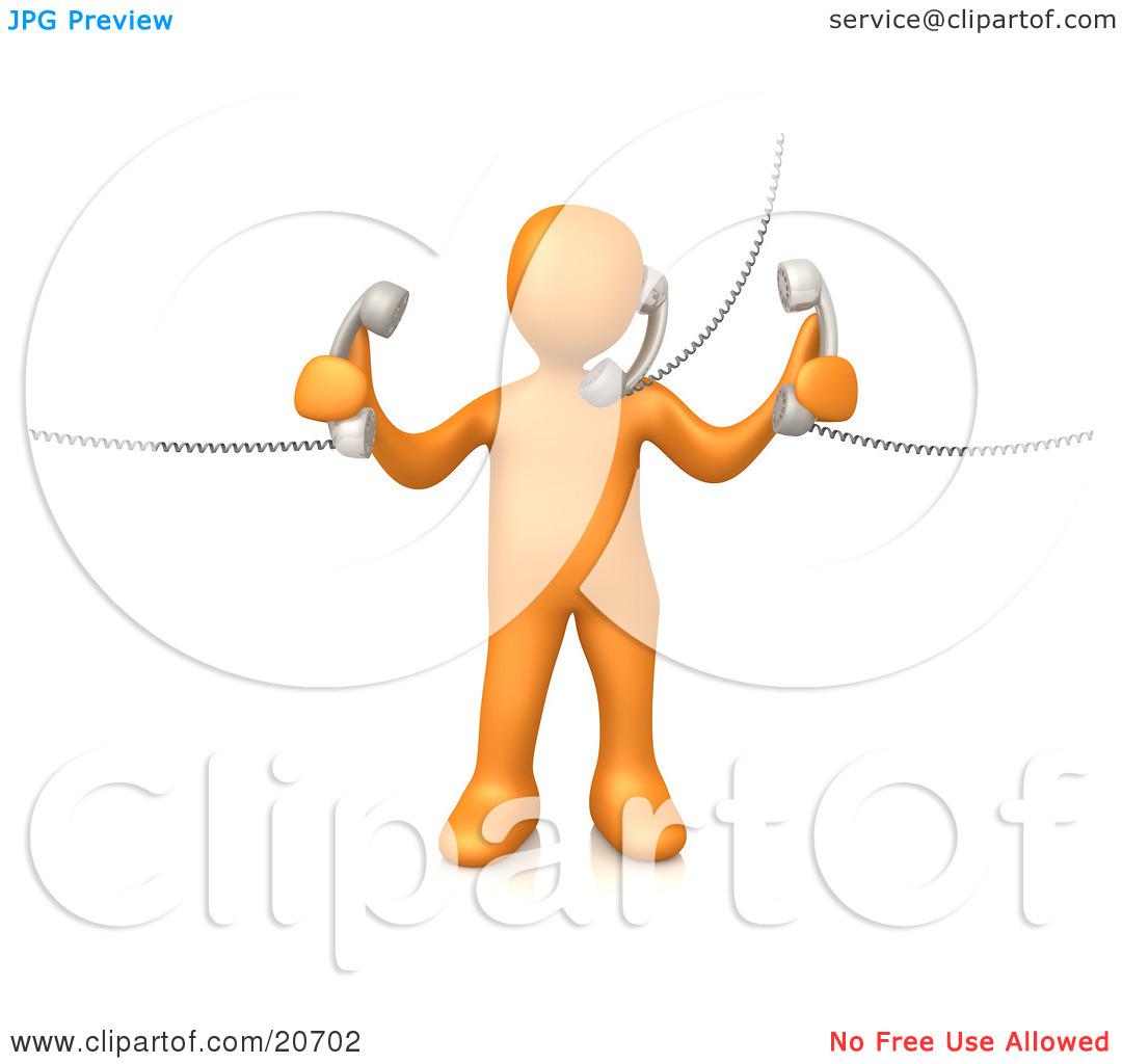 Clipart Illustration of an Orange Person Handling Three Customer.