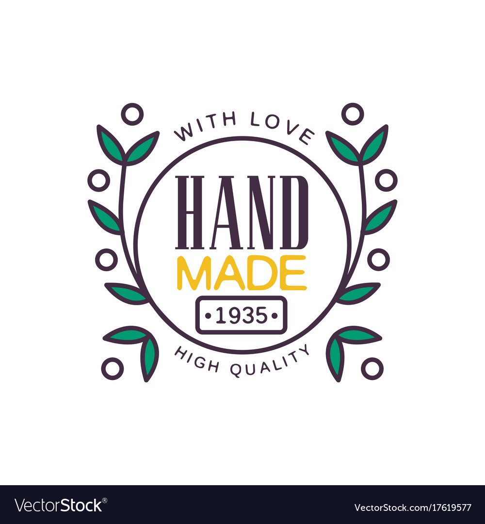 Handmade with love logo template high quality.