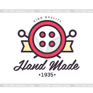 Handmade logo template, since 1935, retro needlewor.