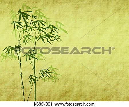 Clipart of design of chinese bamboo trees with texture of handmade.