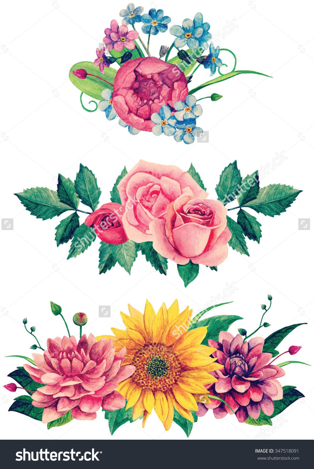 Watercolor Bouquet Clipart Handpainted Flowers Clip Stock.