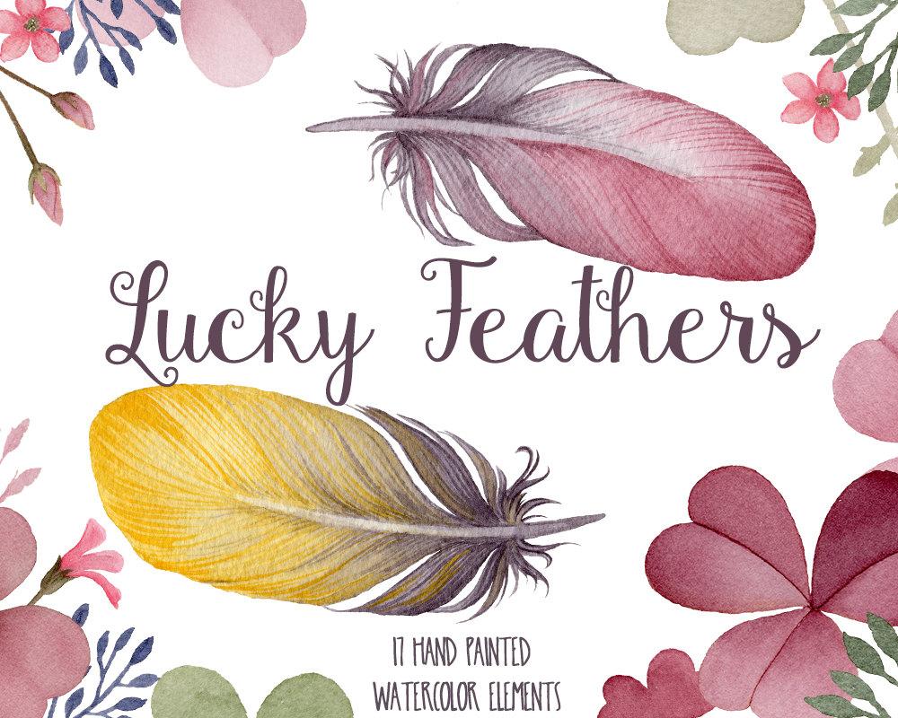 Watercolor Landcolor Skycolor — Watercolor clipart, feather clip.