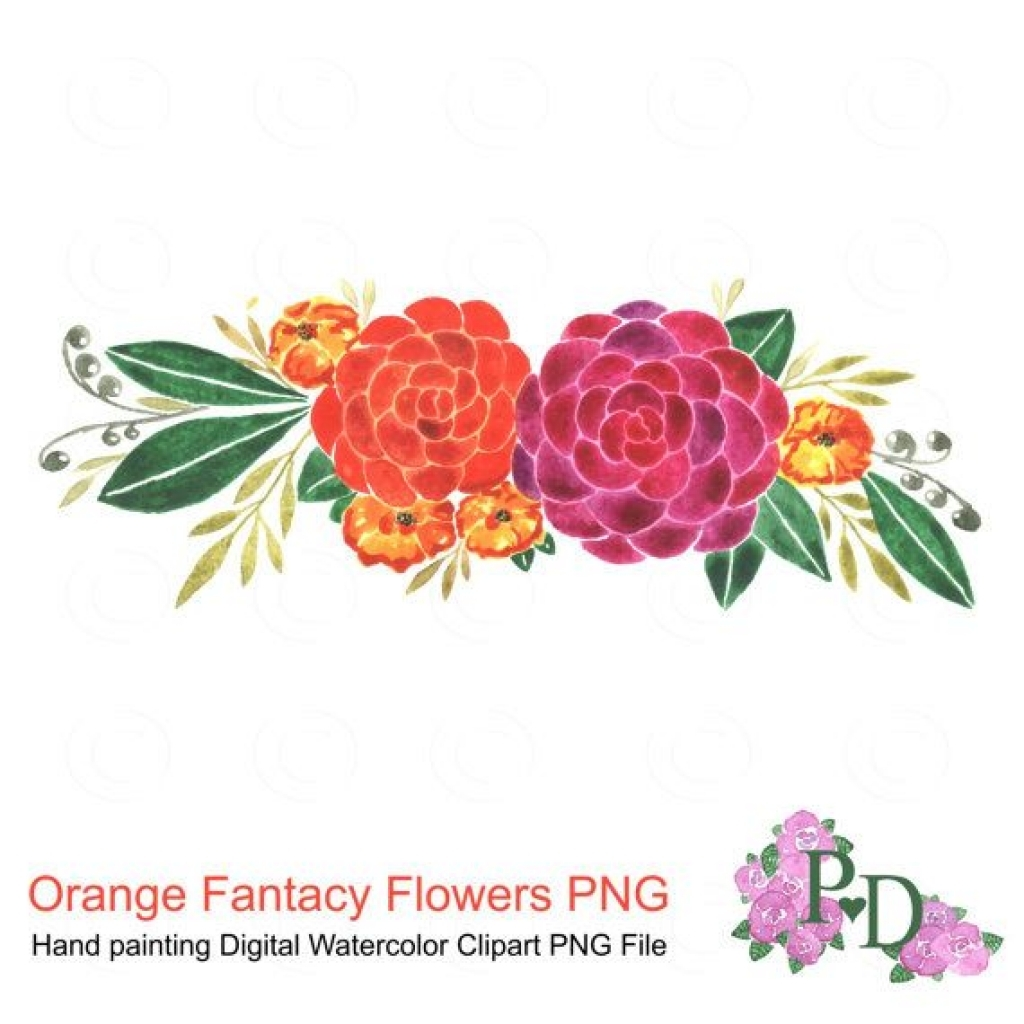red flower clipart png file digital watercolor hand painted no.