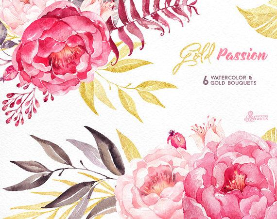 Gold Passion 6 Bouquets, Watercolor Hand Painted Clipart, Peonies.