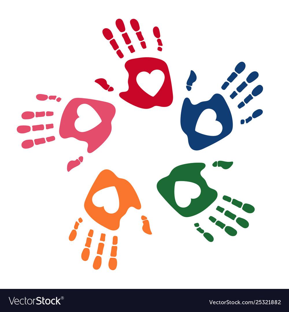 Colorful human palms childrens handprint logo.