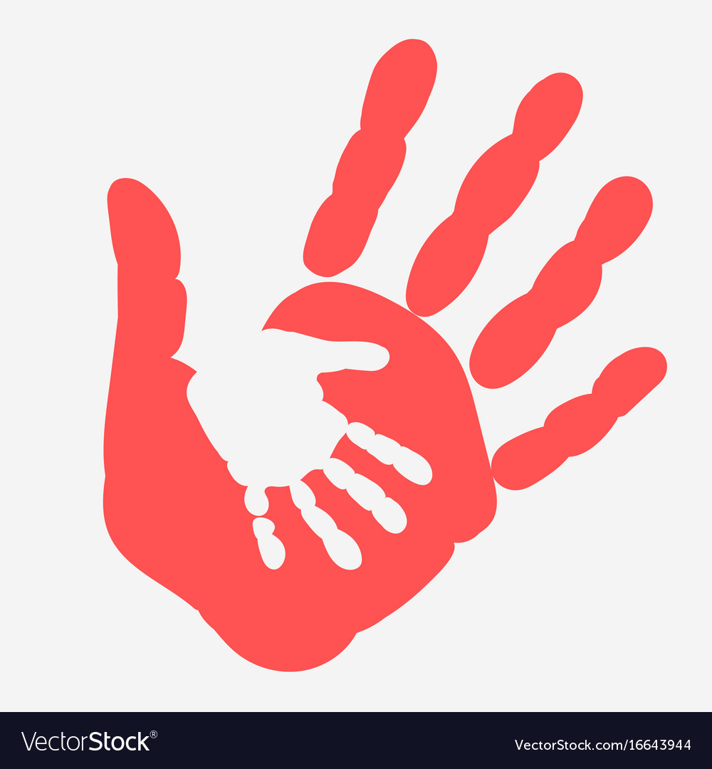 Mother and child handprint palm of woman and baby.
