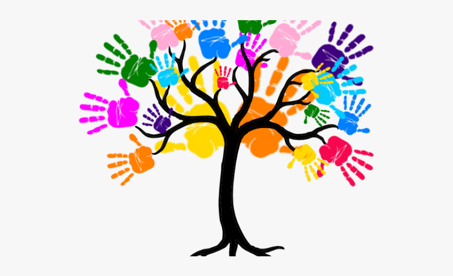 Handprint Clipart Friendship Tree.