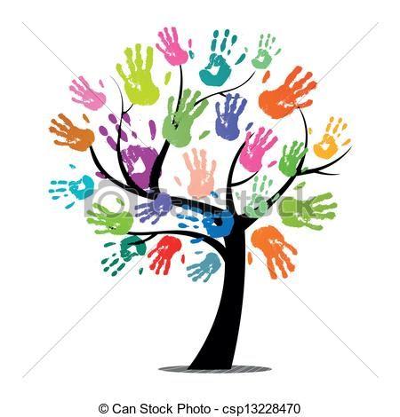 tree handprint clipart.