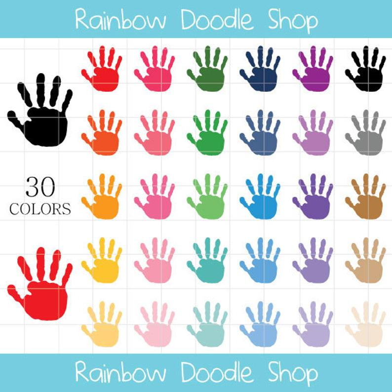 Painted Hand Prints Clipart, Handprints Clipart, Kids Hand Prints, Painted  Hand Prints, Art and Craft Clipart, Colorful Hand Prints.