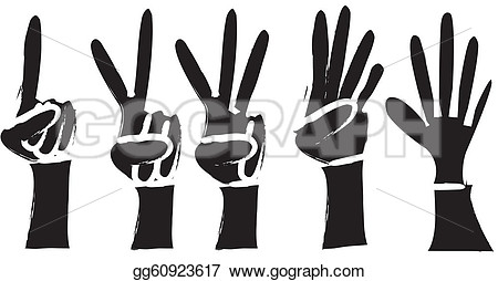 Hands 1 2 3 clipart silhouette color.