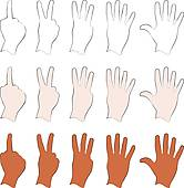 Clipart of 1, 2, 3, 4, 5 Silhouette Hands k9378433.