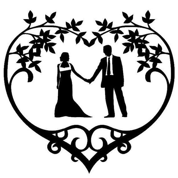 Wedding Couple Silhouette Vinyl Decal Floral Heart Frame Frame.