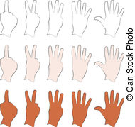 Hands 1 2 3 clipart silhouette.