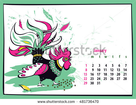 Calendar 2017 Chinese New Year Rooster Stock Vector 456013171.