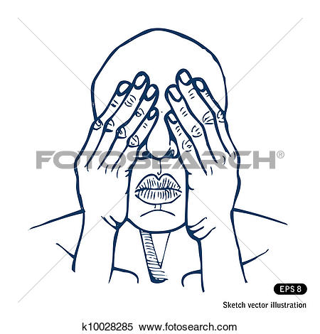 Clipart of Man covering eyes with hands k10028285.