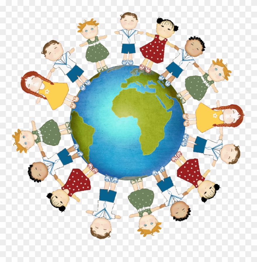 Kids Holding Hands Around The World Clipart (#1338730).