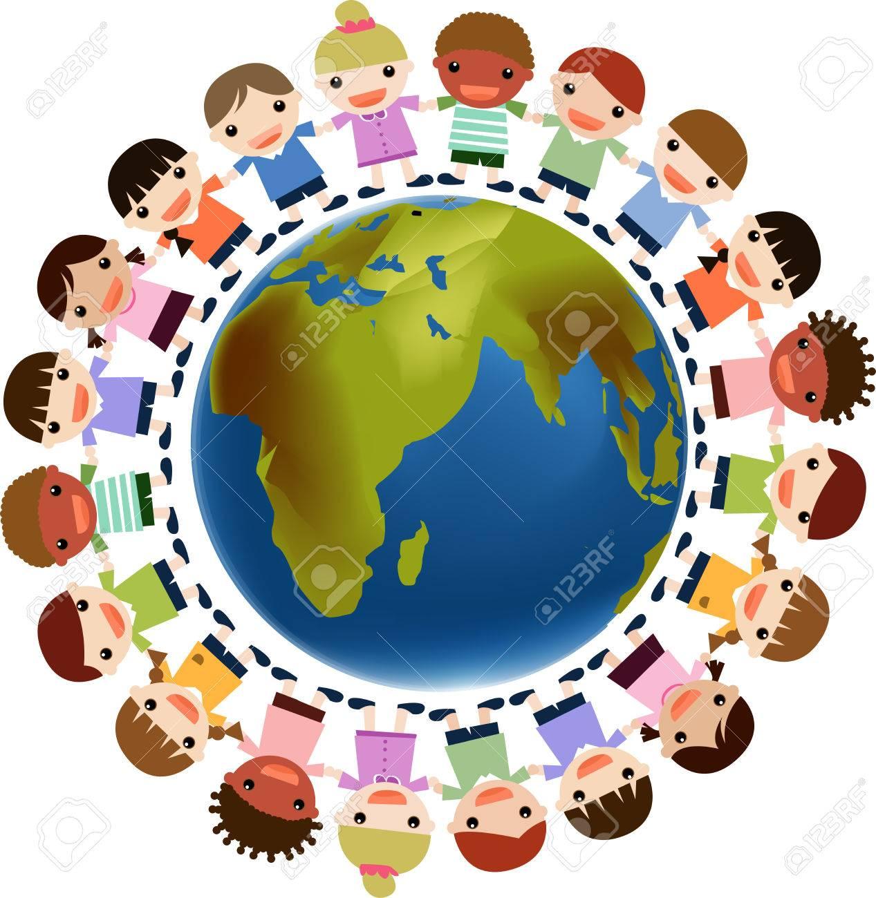 kids holding hands around the world.