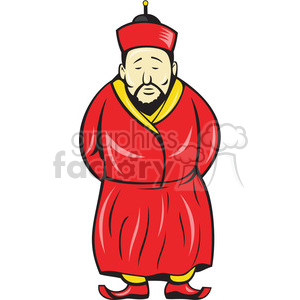 traditional chinese man standing hands behind back clipart. Royalty.