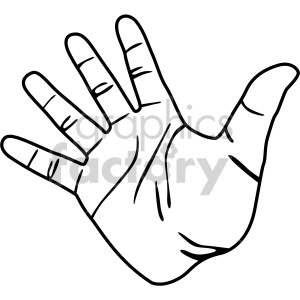 hand black white clipart. Royalty.