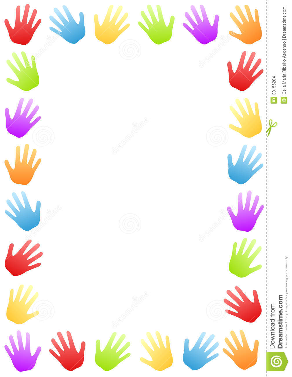 Colored Hands Border Frame stock photo. Illustration of colors.