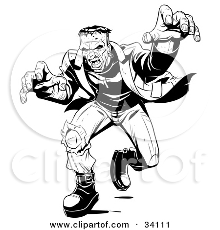 Clipart Illustration of Angry Frankenstein Lunging Forward To.