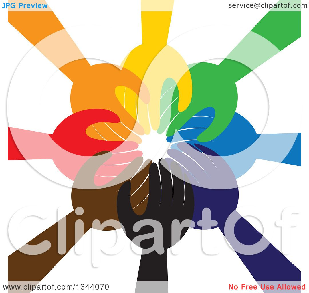 Clipart of a Group of Colorful Human Hands Reaching All in.