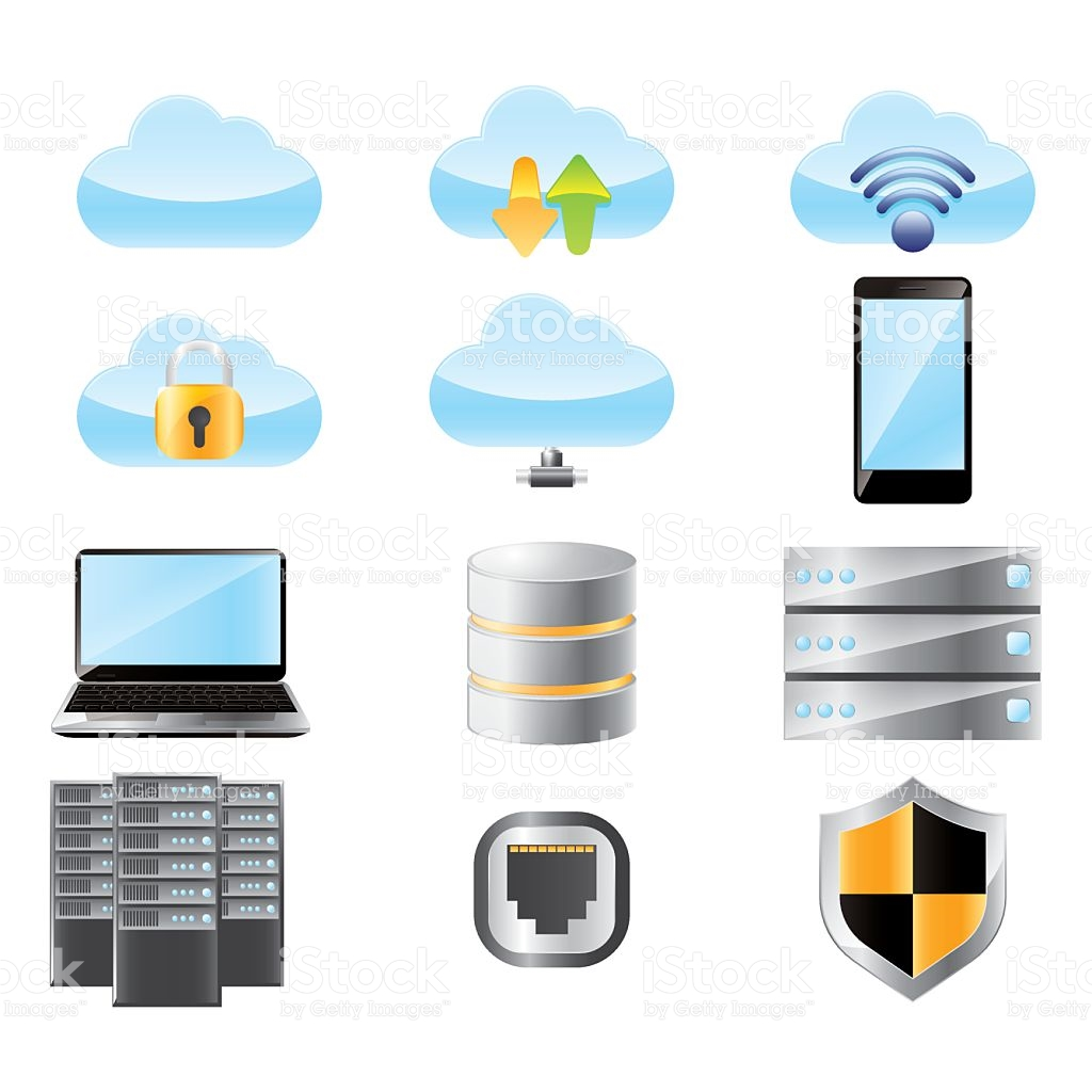 Set Of Cloud Computing Networking System stock vector art.