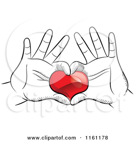 Clipart of Black and White Hands Framing and Holding a Red Heart.