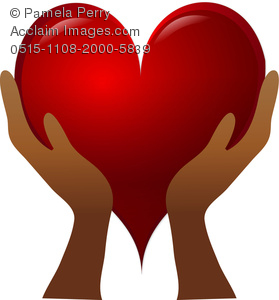 Clip Art Image Of A Pair Of Hands Holding a Red Heart.