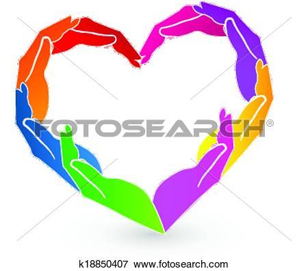 Clip Art of Hands heart charity logo k18850407.