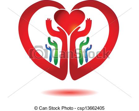 Vector Clipart of Hands holding a heart icon vector csp13662405.