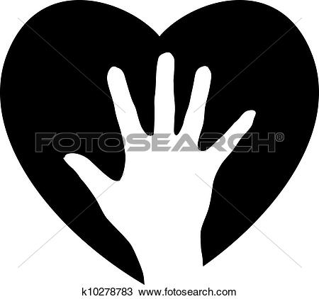 Clipart of Helping Hand in the heart k10278783.