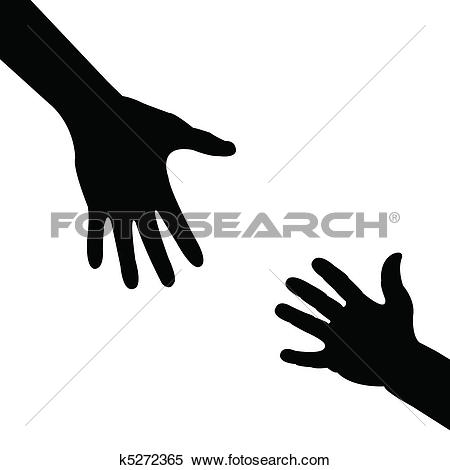 Clip Art of Helping hands. k5089759.