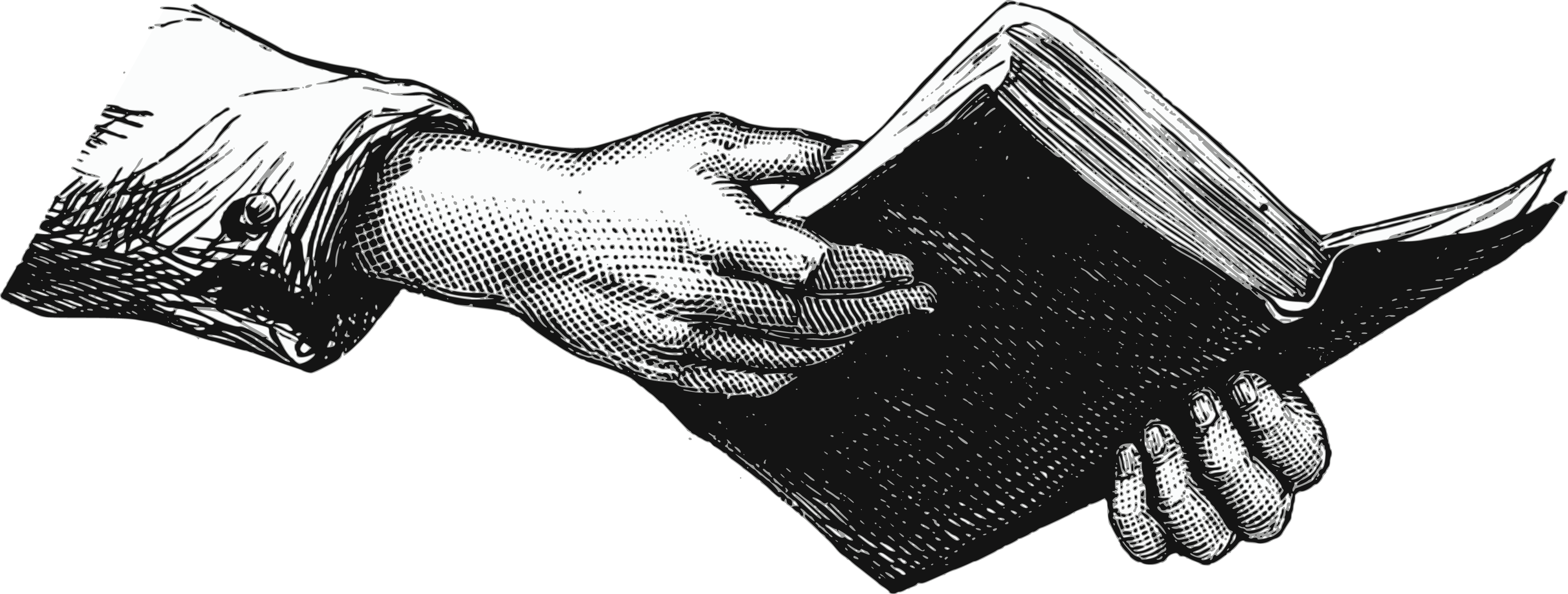 Hands Holding Book Clipart.