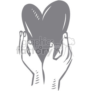 hands holding a gray heart clipart. Royalty.