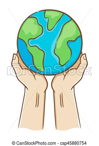 Two Hand Holding Planet Earth.