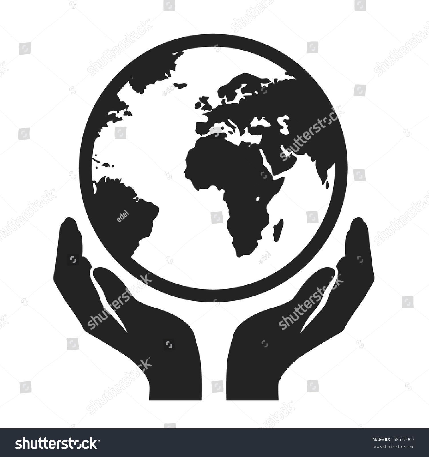 hands holding globe earth web black icon. save earth concept vector.