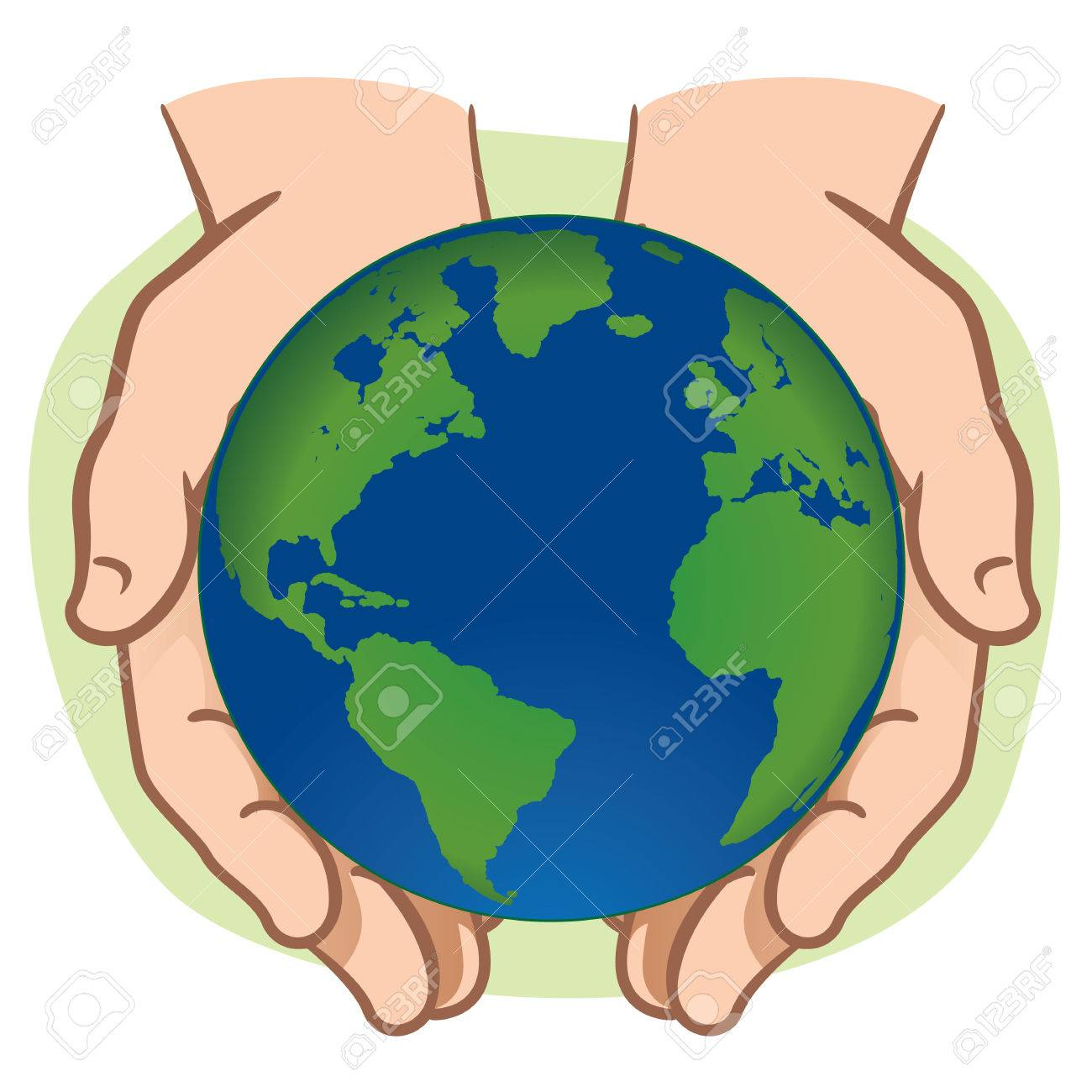 Character pair of hands holding the planet Earth. Ideal for informational...