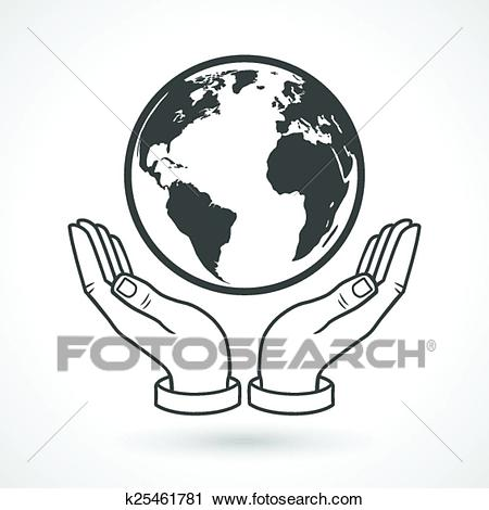 Hand Holding Earth Globe Symbol Clipart.