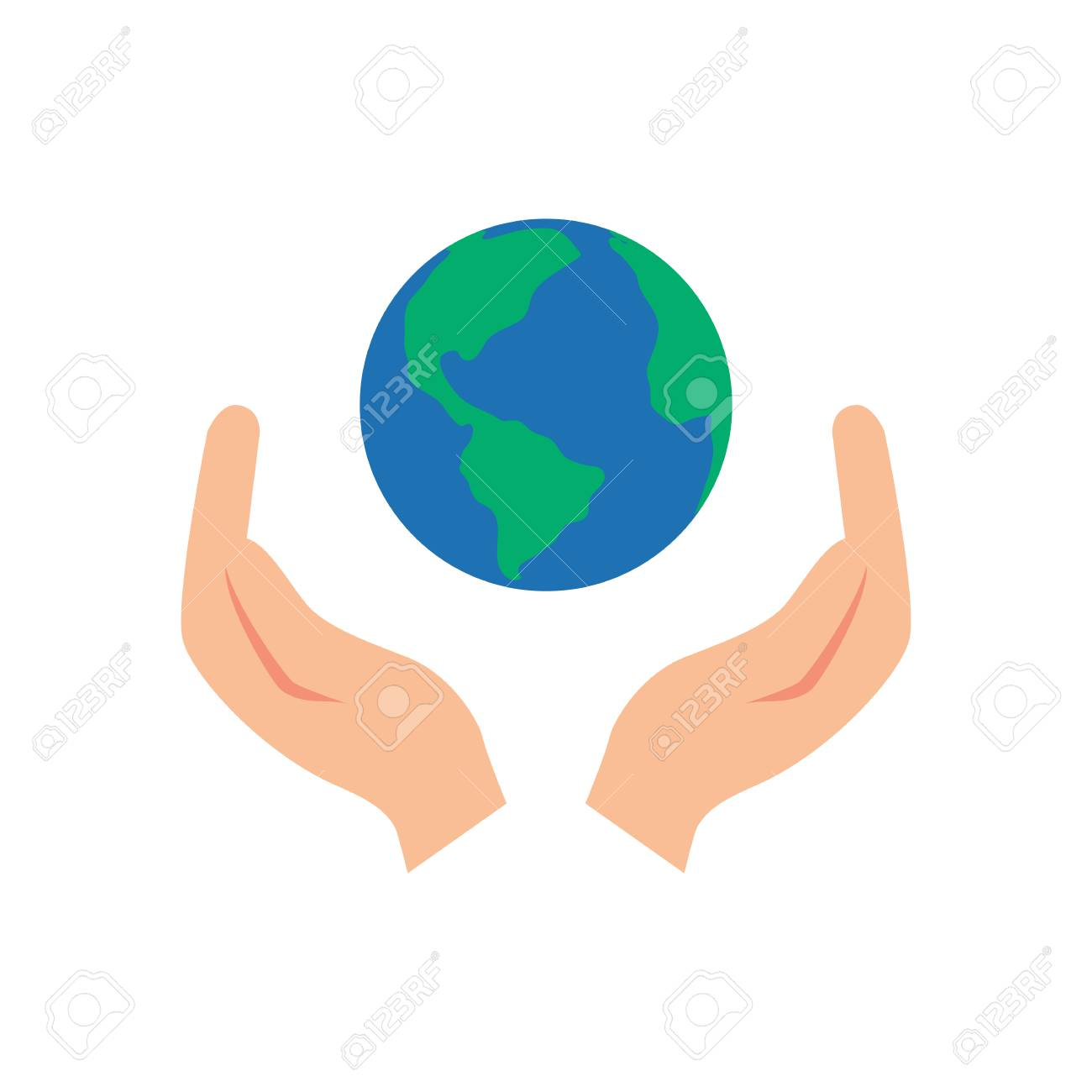 Vector illustration of two hands holding the Earth.