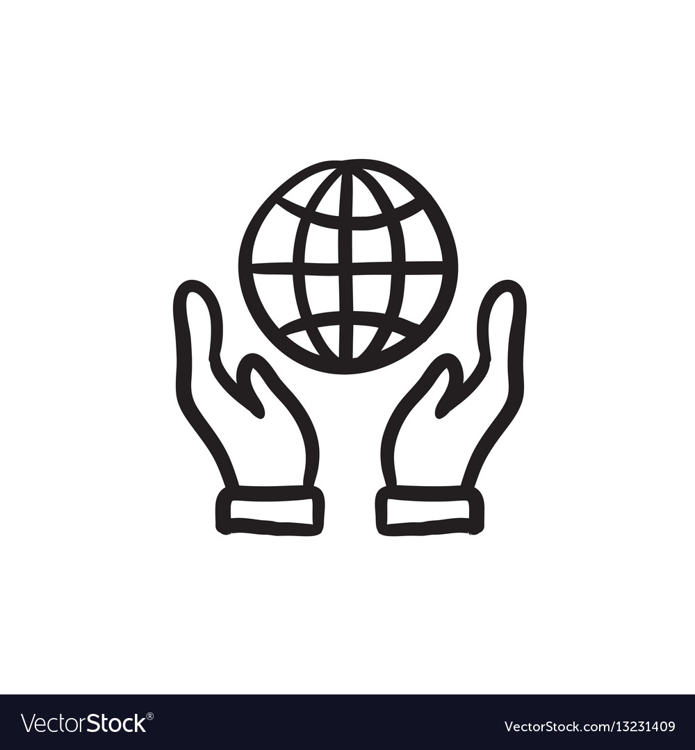 Two hands holding globe sketch icon.
