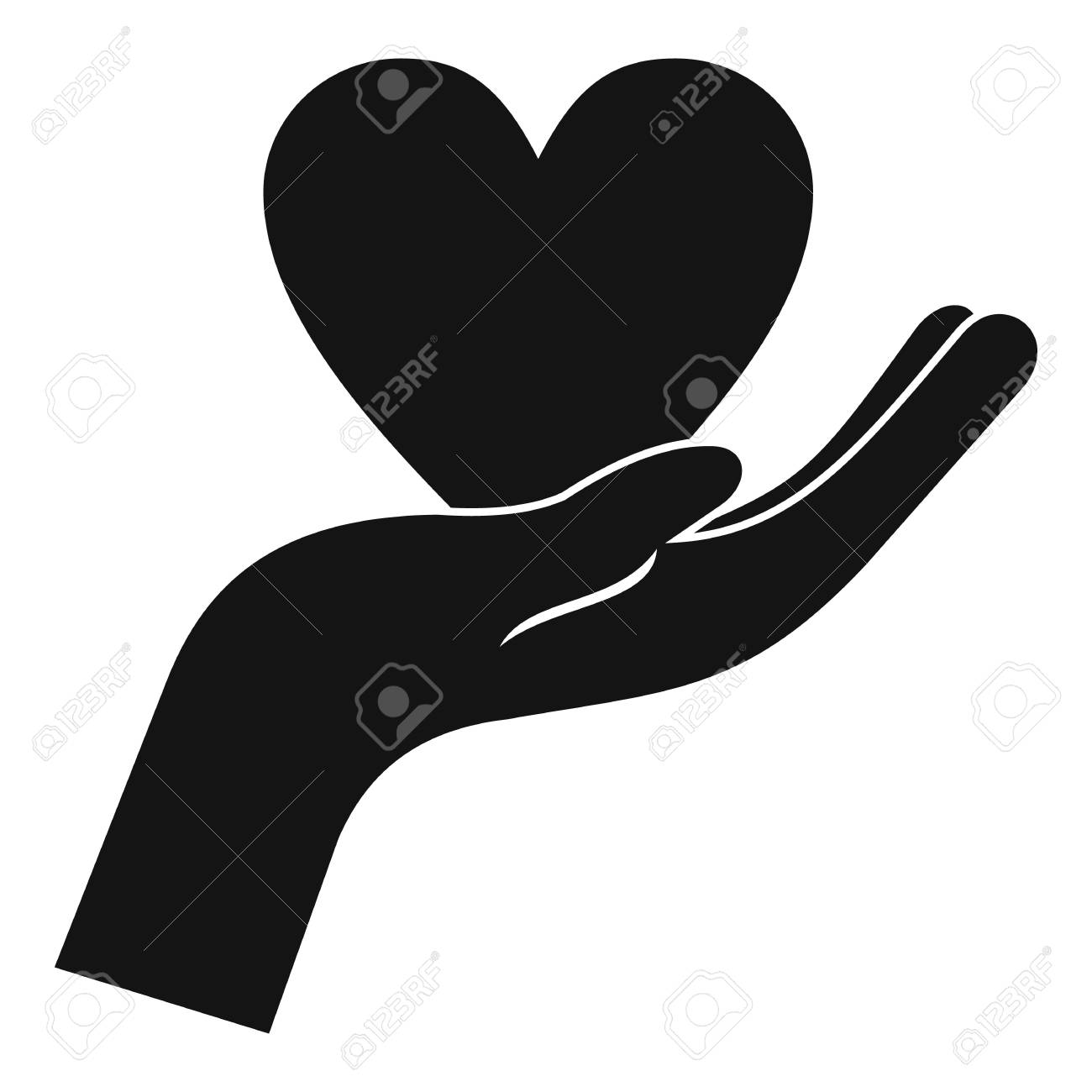 Hand holding heart icon. Simple illustration of hand holding...