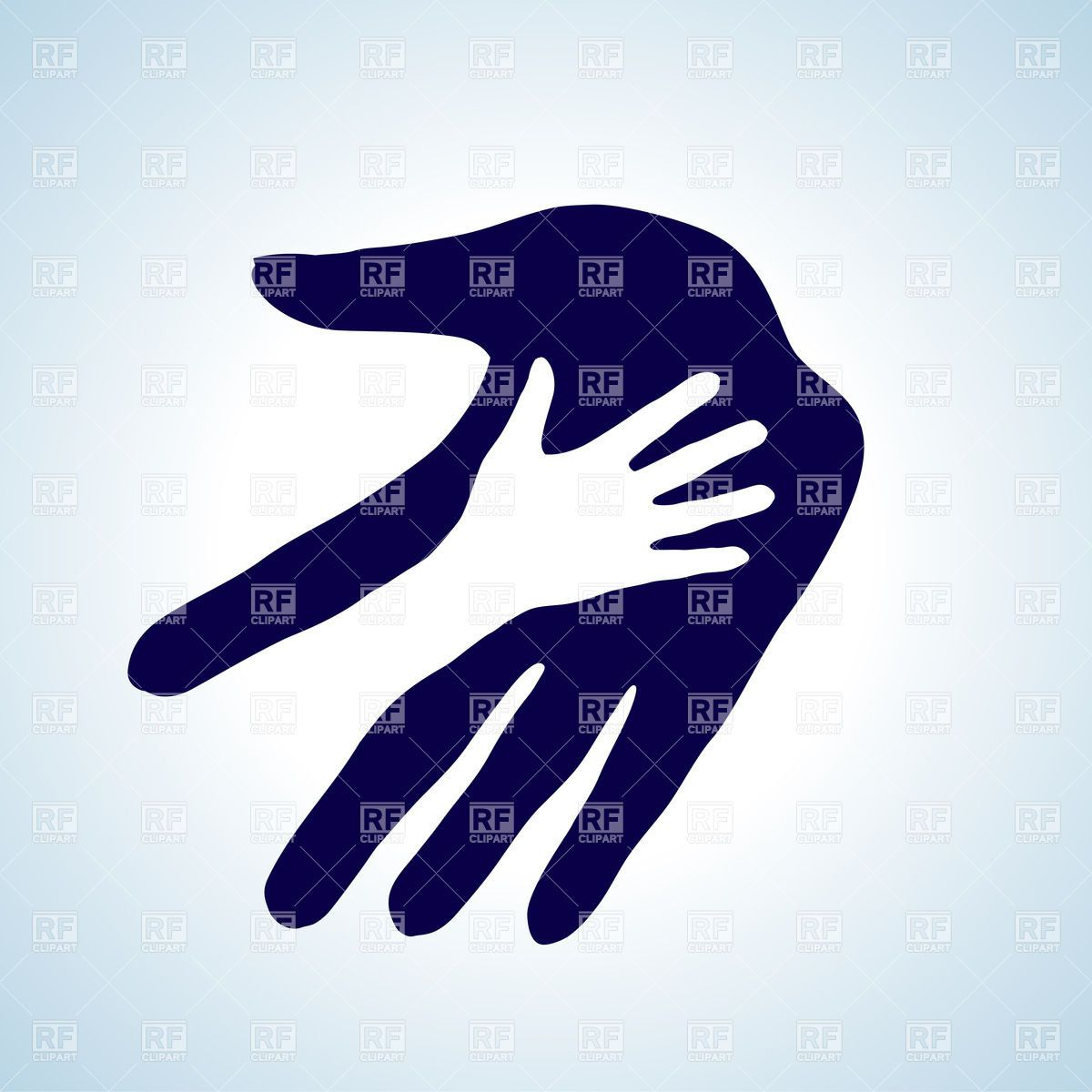 Child\'s hand in parent\'s hand icon Stock Vector Image.
