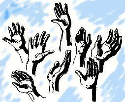 Hands raised in praise..